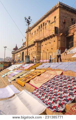 Varanasi, India - December, 9th, 2017. Ghats Of Varanasi.
