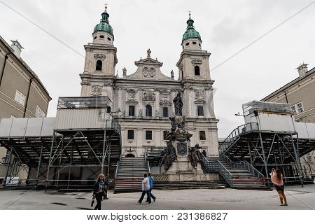 Salzburg, Austria - August 6, 2017: Cathedral From Domplatz With Mounted Stage For Music Festival