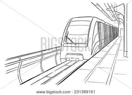 Hand Drawn Ink Line Sketch Moscow Monorail Light Metro Station, Train In Outline Style Perspective V