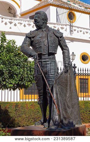 The Statue Of Curro Romero, A Famous Torero From Seville, In Front Of Plaza De Toros De La Maestranz