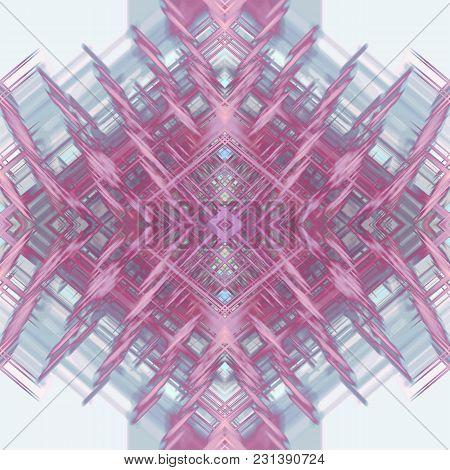 Kaleidoscope Pattern. Bright Pink, Purple Fantastic Shape On Gray Background. Abstract Symmetric Art