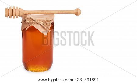 Eco Home Made Honey In Jar Isolated On White Background. Copy Space, Template.