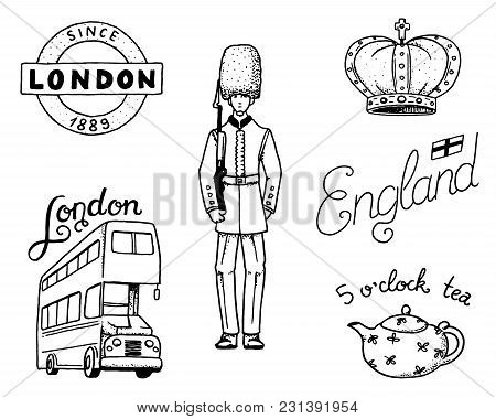British Logo, Crown And Queen, Teapot With Tea, Bus And Royal Guard, London And The Gentlemen. Symbo