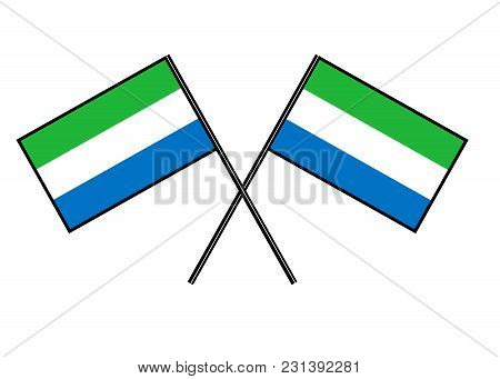 Flag Of Sierra Leone. Stylization Of National Banner. Simple Vector Illustration With Two Flags