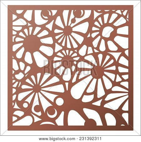Vector Template Laser Cut Panel. Openwork Pattern For Decorative Panel. Wall Panels Or Partition. Ji