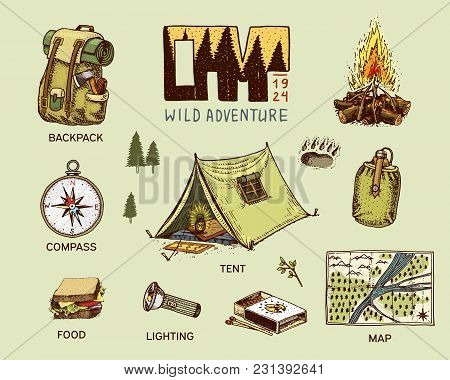 Camping Equipment Set, Outdoor Adventure, Hiking. Traveling Man With Luggage. Tourism Trip. Engraved