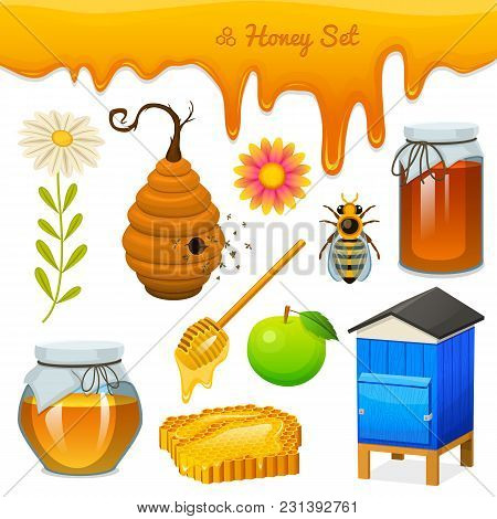 Honey Set, Bee And Hive, Spoon And Honeycomb, Hive And Apiary. Natural Farm Product. Beekeeping Or G