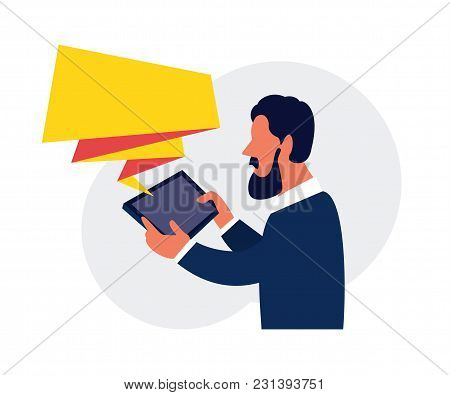 Business Man Holding Touch Pad, Reading A Message On Mobile Tablet. Vector Illustration