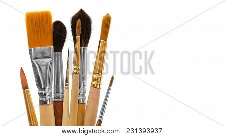 Paintbrushes For Drawing. Isolated On White Background. Copy Space, Template