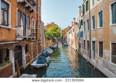 Venice, Beautiful Romantic Italian City On Sea With Great Canal And Gondolas. View Of Venetian Narro