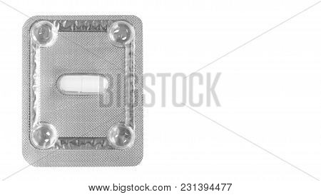 Medicine Pills Packed In Blisters Isolated On White Background. Copy Space, Template.