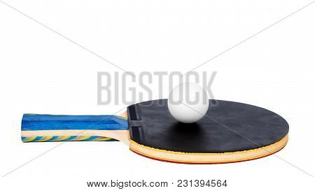 Ping Pong Paddles And Ball Cutout, Isolated On White Background. Copy Space, Template.