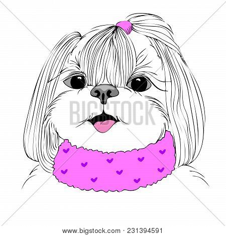 Fashion Portrait Of Doggy Girl In Pink, Hand Drawn Vector
