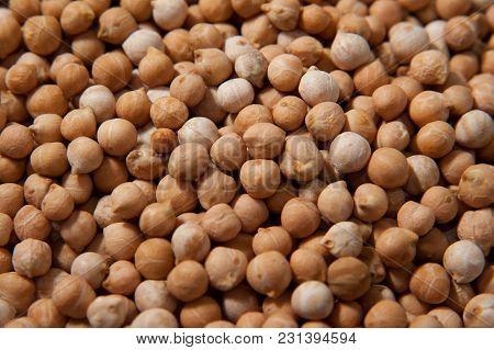 Chickpeas Macro Background. Turkish Or Garbanzo Beans - Healthy Vegan Food. Chickpeas Macro Backgrou
