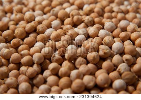 Chickpeas Macro Background. Turkish Or Garbanzo Beans - Healthy Vegan Food. Superfood With Different