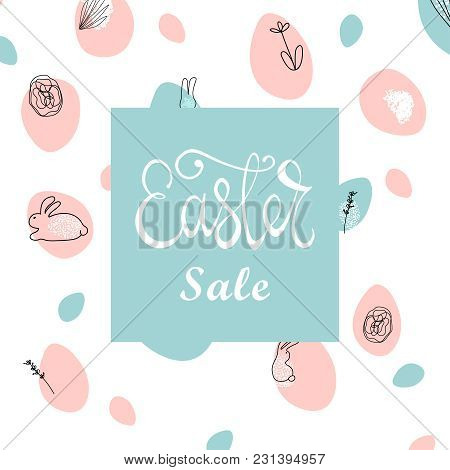 Trendy Easter Sale Banner Unique Design With Different Hand Drawn Shapes And Textures. Cute Social M