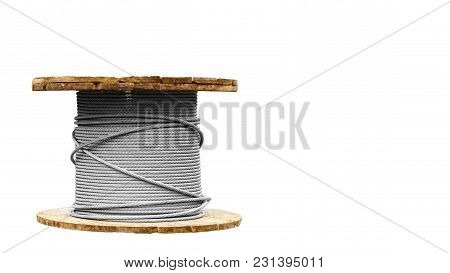 Coil Cable Isolated On A White Background. Copy Space, Template