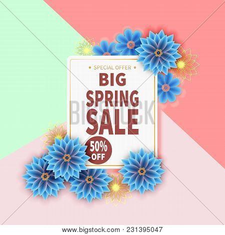 Spring Sale Banner With Colorful Flower And Black Frame. Vector Illustration.