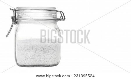 Bottle With Salt Isolated On White Background. Copy Space, Template.