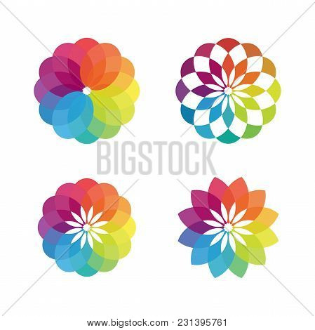 Colorful Flower Vector Concept Design - Bright Colored Flower Colour Palette Symbol. Design Art And
