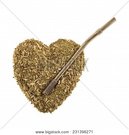Heart Of Dry Tea Leaves Iron Mate With A Bombilla On White Background Isolate