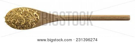 Wooden Spoon With Yerba Mate On White Background Isolate