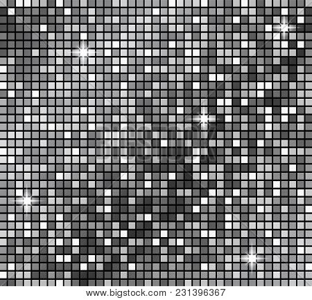 Metallicsilver Mosaics. Vector Silver Disco Lights Background. Abstract Background. Disco Party Temp