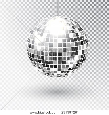 Mirror Glitter Disco Ball Vector Illustration. Night Club Party Light Element. Bright Mirror Silver