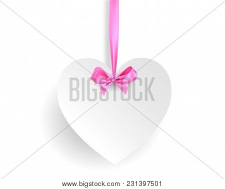 Realistic Heart Shaped Banner With Ribbon. Decor For Holiday. Place For Text.