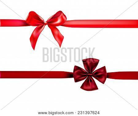 Holiday Bow Set For Decor On White Background. Decorative Design Element.