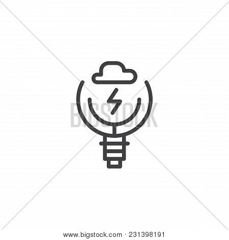 Light Bulb With Cloud And Lightning Inside Outline Icon. Linear Style Sign For Mobile Concept And We