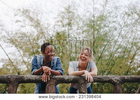 Two women hanging out outdoors