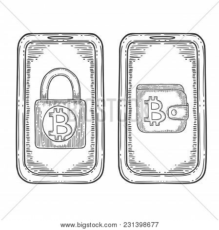 Bitcoin Stock Vector Image, Digital Currency, Cryptocurrency Money, Cellphone, Bitcoin Symbol. Doodl