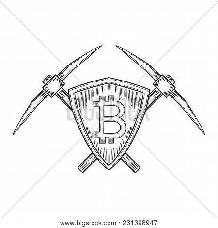 Bitcoin Stock Vector Image, Digital Currency, Cryptocurrency Money, Pick Axe, Bitcoin Symbol. Doodle