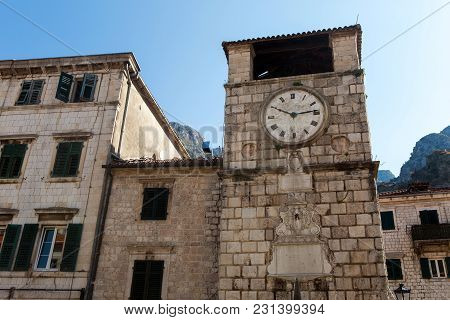 Kotor, Montenegro - September 26: The Old Clock On The Highest Stone Tower In Montenegro In The Euro