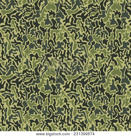 Camouflage Pattern. Fashionable Millatry Print. Seamless Vector Army Green Hunting Background, Green