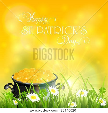 Patricks Day And Gold Of Leprechaun In Grass On Yellow Sunny Background