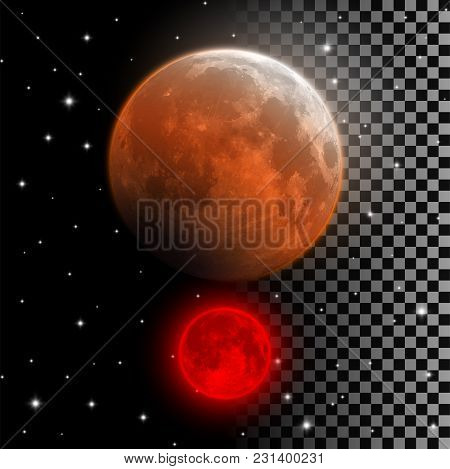 Realistic Blood Moon Vector Illustration. Red And Orange Full Moon In Lunar Eclipse Phase Isolated O