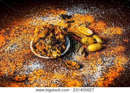 Popular Indian Squash Pickle Or Tinda Nu Athnu Or Achar In A Glass Plat With All Its Ingredients And