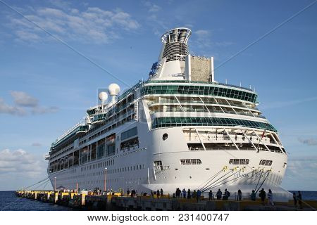 Big White Ship In A Mexican Port