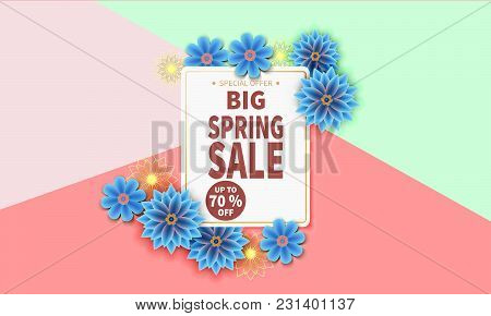 Spring Sale Banner With Colorful Flower And Gold Frame. Vector Illustration.