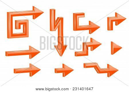 Orange Shaped 3d Arrows. Vector Illustration Isolated On White Background