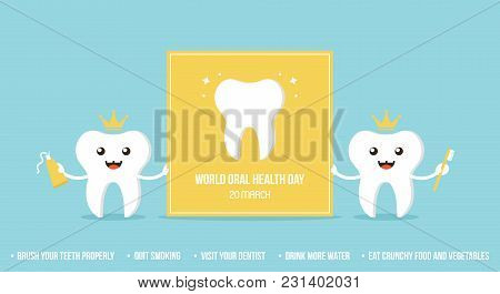 Couple Of Cute Cartoon Teeth Characters Holding Card For World Oral Health Day. Vector Illustration,