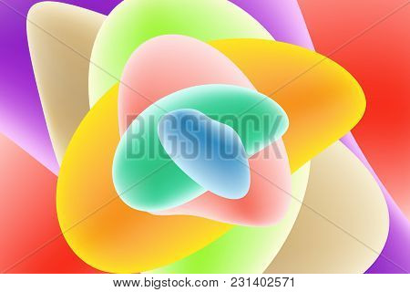 Vector Design Template In Trendy Bright Gradient Colors With Abstract Fluid Shapes, Futuristic Poste