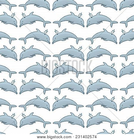 Seamless Pattern Dolphin And Blue Sea. Animals, Nature, Wildlife. Engraved Hand Drawn. Mammal Marine