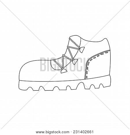 Trekking Boot Outline Coloring Page Isolated Cartoon Vector Illustration
