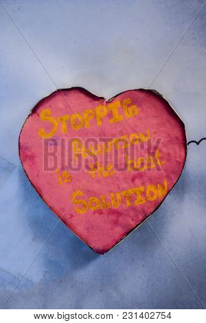 Close Up Of Heart Shapes With Unique And Motivational Quotes Thought Related To Nature And To Stop T