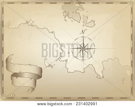 Vector Illustration Of An Old Navigation Chart On Yellowed Paper. Ocean, Lakes, Continent And Island