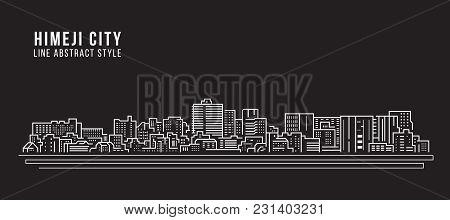 Cityscape Building Line Art Vector Illustration Design - Himeji City