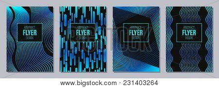 Set Of Flyer, Posters, Banners, Placards, Brochure Design Templates A6 Size. Stripes, Waves In Blue,
